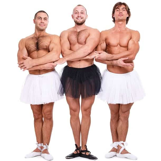 Three man wearing skirts showing their hairy bodies